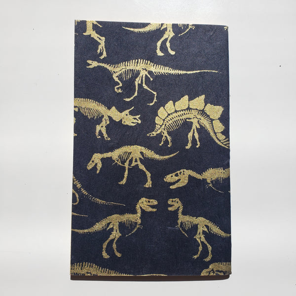 Handmade Notebook - Dinosaur Gold on black