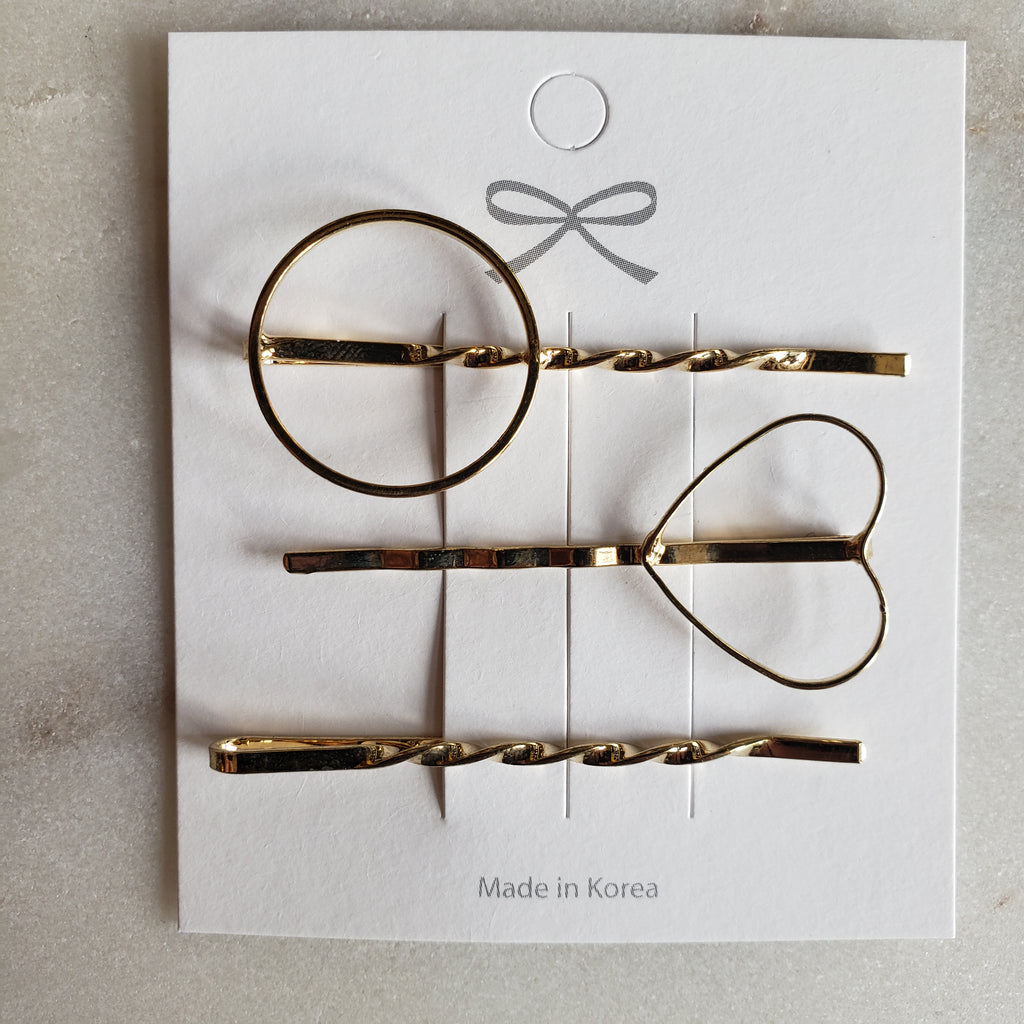Set of Three Hair Pins - Heart