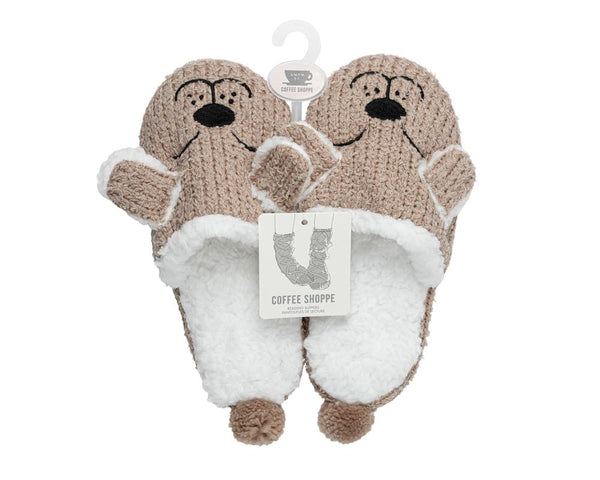 Critter Slide Slipper with hard-bottom sole - Dog (Fungi)