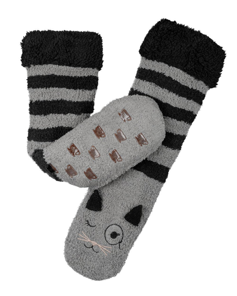 Marshmallow Critter Socks - Cat (Smoked Pearl & Black)