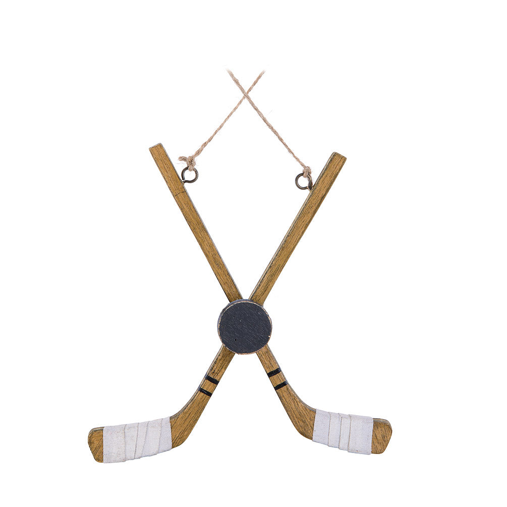 Crossed Hockey Sticks & Puck Ornament