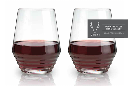 Deco Crystal Stemless Wine Glasses