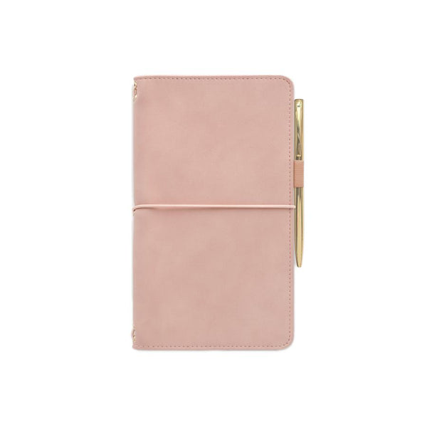 Vegan Suede Notebook Folio with Pen - Dusty Pink/Cheetah