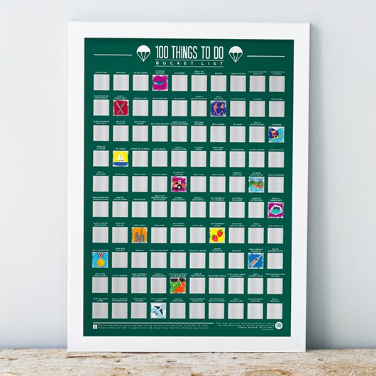 Scratch Off Bucket List Poster - 100 Things To Do