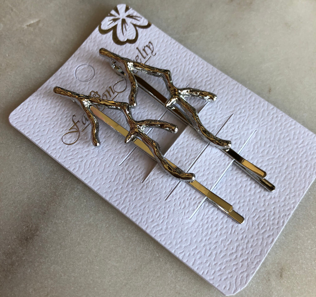 Set of Two Hair Pins - Branches