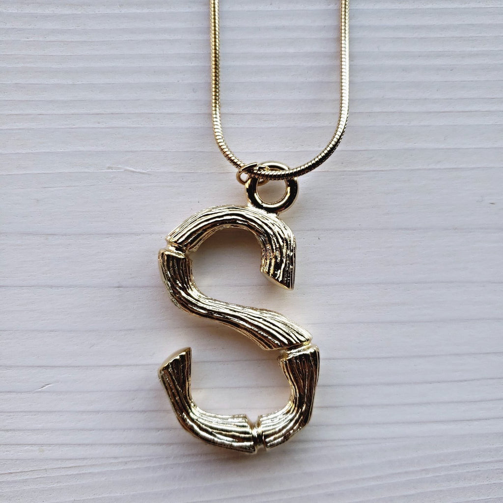 Wooden Initial Stainless Steel Necklace