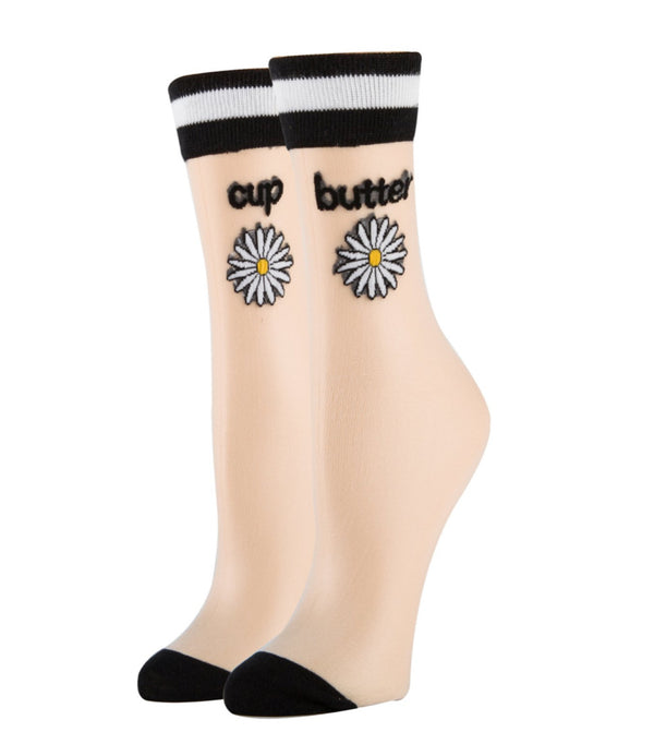 Women's Sheer Dress Socks - Butter Cup