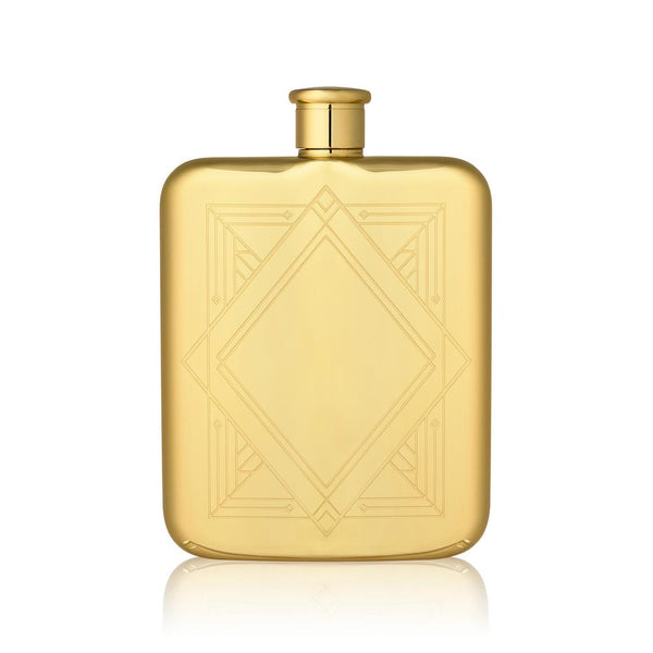 Art Deco Flask Gold Plated 14K