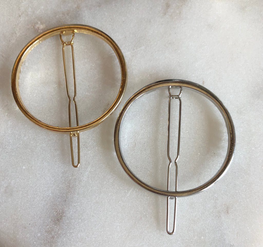 Set of Two Hair Clips - Circle