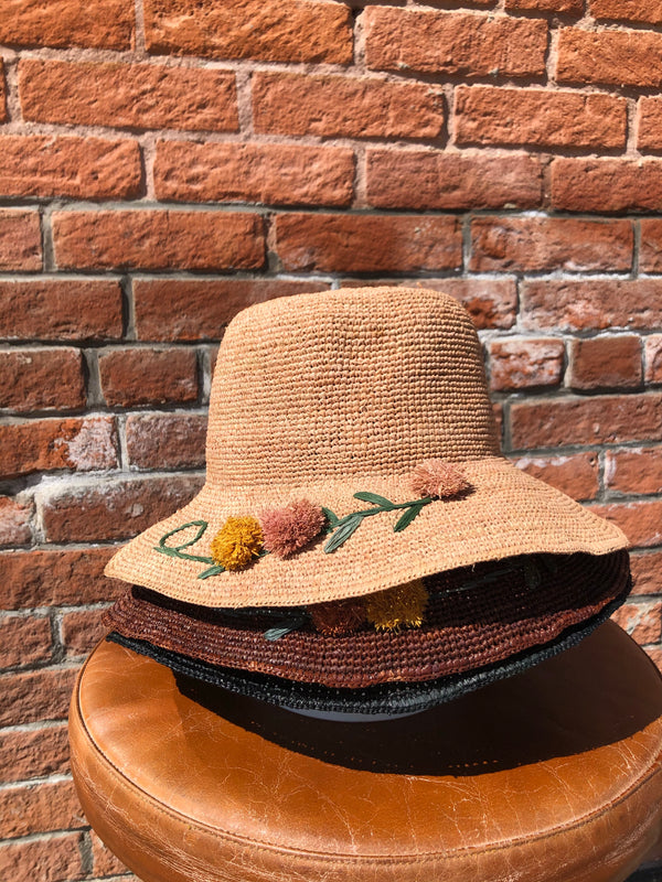Straw Hat with Pom Pom Flowers