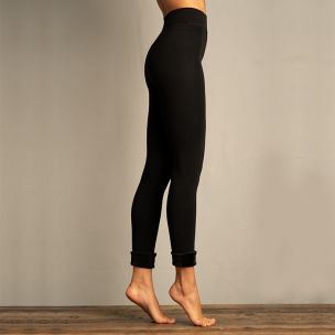 Womens Seamless Faux Fur Lined Leggings - Black