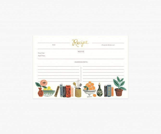 Kitchen Shelf Recipe Cards