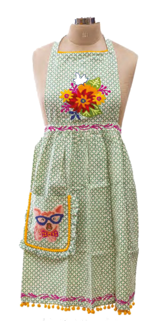 Embroidered Apron - Pig