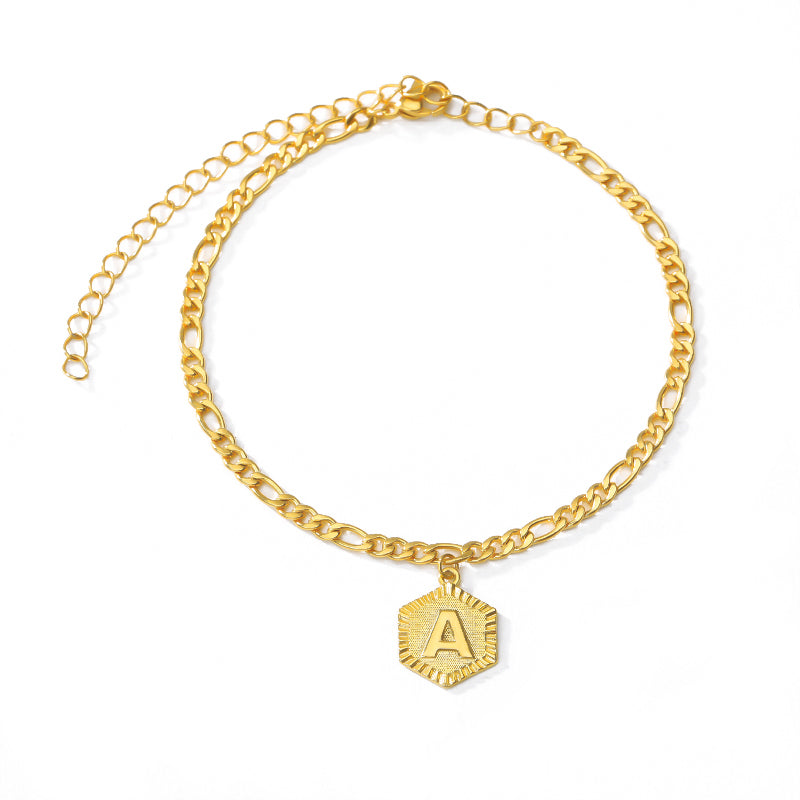 Alphabet  Letter Anklets for Women