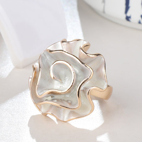 Image of Hot Fashion White Enamel Rose Ring For Women