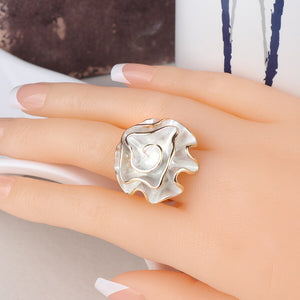 Hot Fashion White Enamel Rose Ring For Women