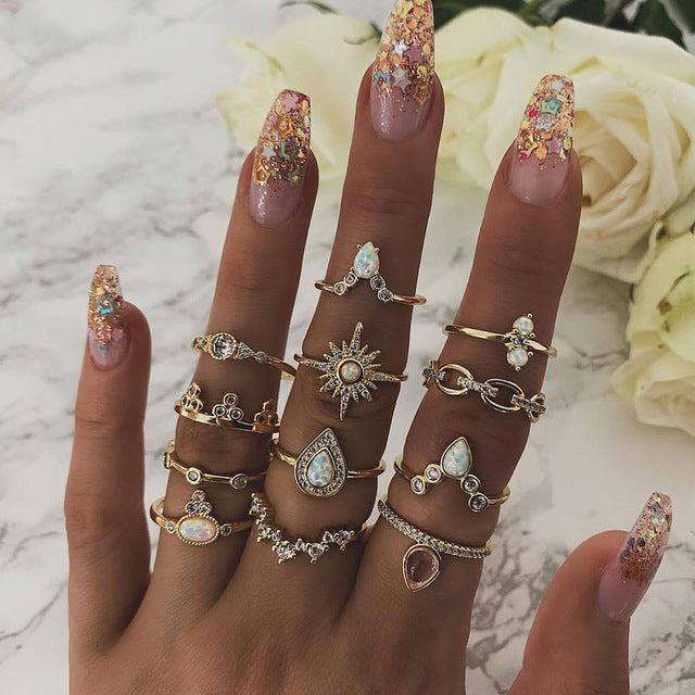 Boho  Gold Star Midi Moon Rings For Women