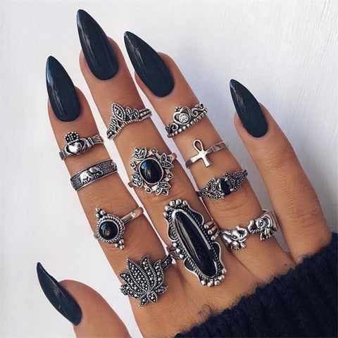 Image of Boho  Gold Star Midi Moon Rings For Women