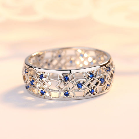 Image of Popular Rhinestone Two-tone Wedding  Rings for Women