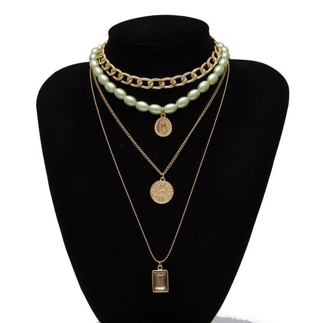 Pearl  green Necklace with Virgin Mary
