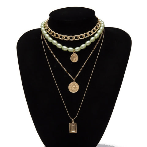 Image of Pearl  green Necklace with Virgin Mary