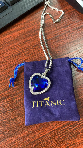 Image of blue heart love Necklace + velvet bag