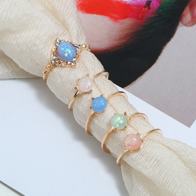 Friends Colorful Stone  Fashion  Rings