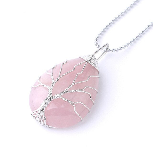 Natural Stone  Wire Pendant Necklace for Women and Men