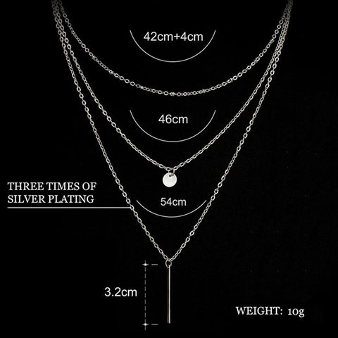 Image of Multilayer Necklaces & Pendants For Women Gold Silver