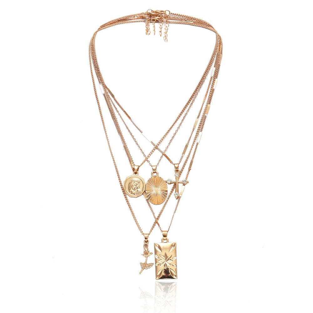 Rose Cross golden Necklace