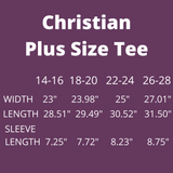 Christian Plus Size T-Shirt - Women's Curvy Comfort - Strength Dignity Wisdom Kindness For Gals Like Me
