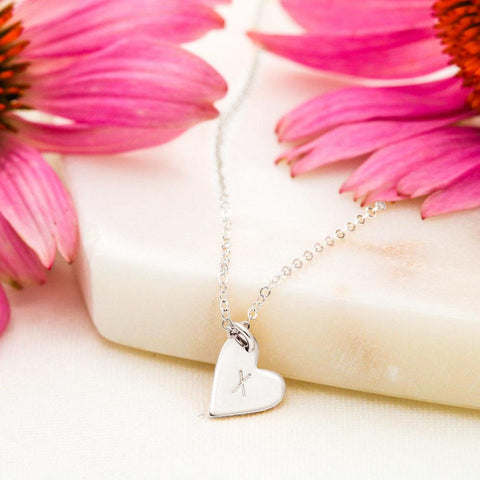 Sweetest Hearts Charms Necklace With Personalized Hand-Stamped Letters