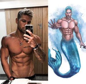 Merman / Mermaid Commission and T-shirt