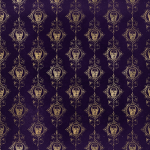 Halloween Costume - Gold skull brocade print on distressed purple - Bodysuit