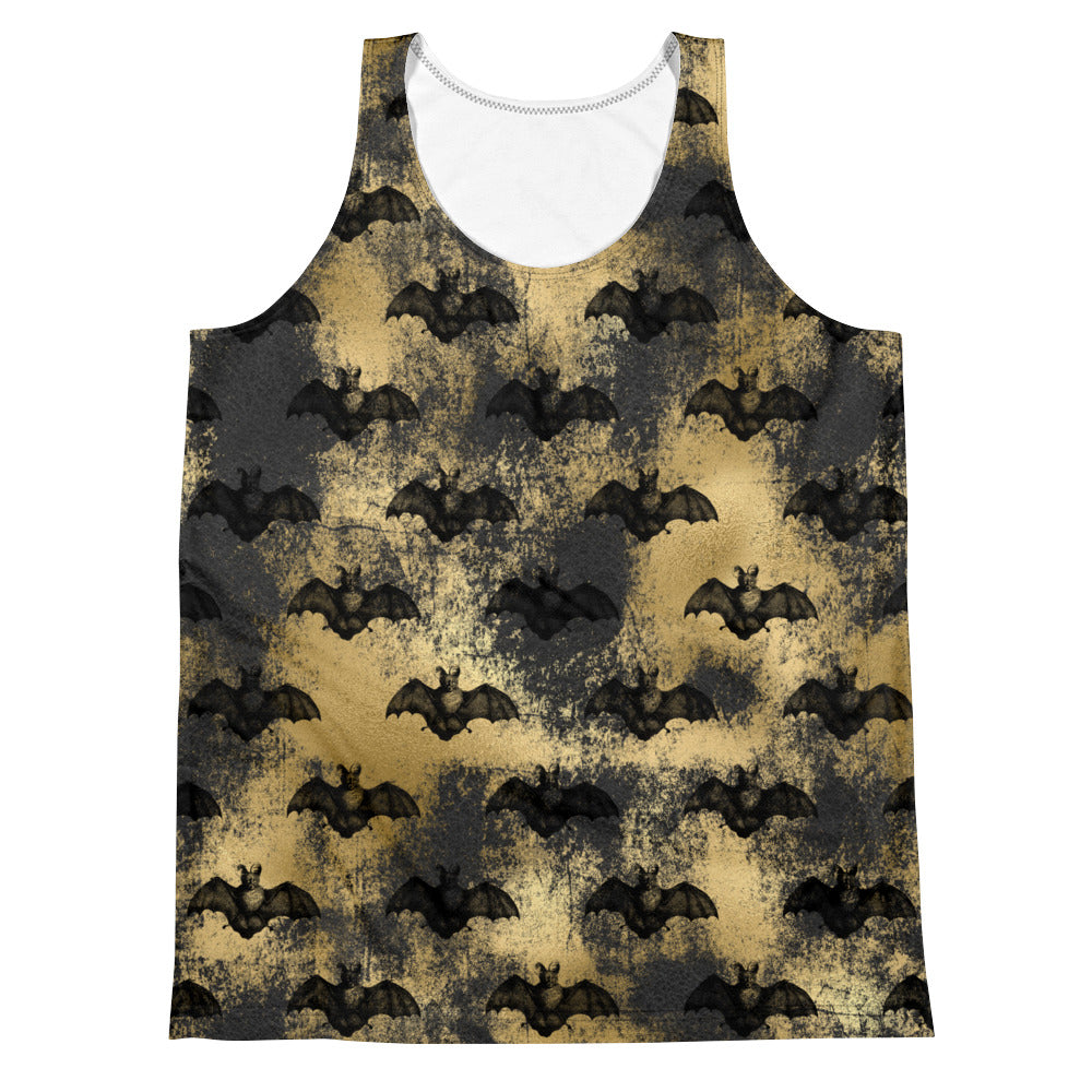 Halloween Costume - Black Bats on distressed Gold - unisex tank