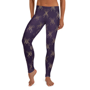 Halloween Costume - Arachnophobia - Gold spiders on distressed purple - Female Leggings