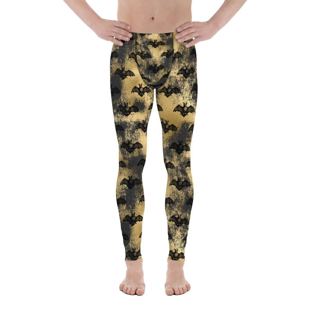 Halloween Costume - Black bats on gold - Men's Leggings