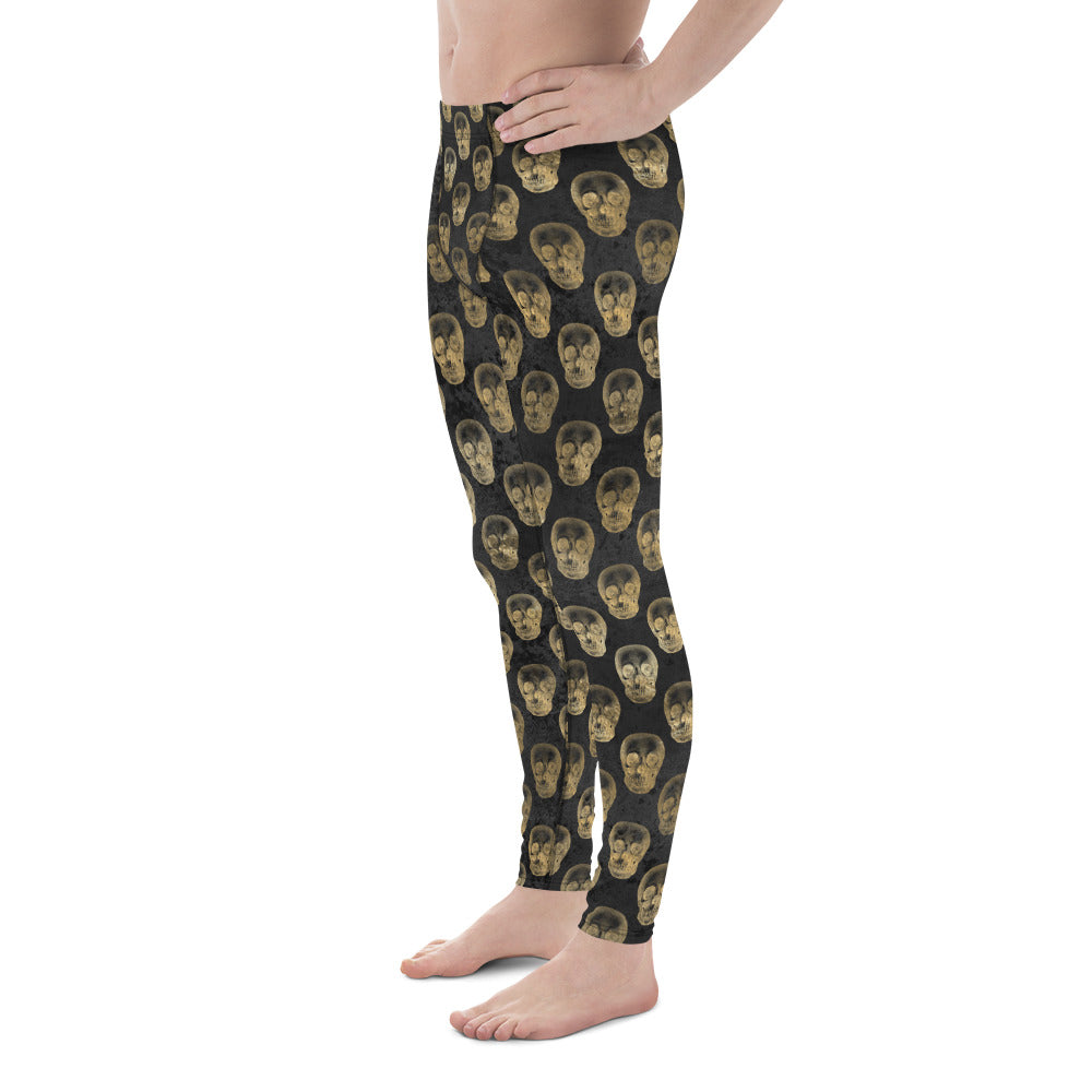 Halloween Costume - Gold skulls on black - Men's Leggings