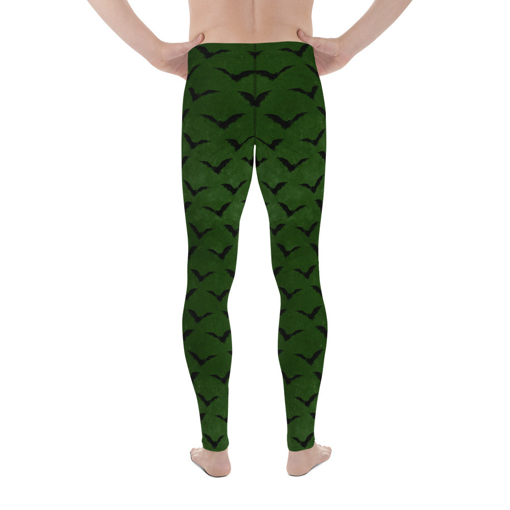 Halloween Costume - Black Bats on Green - Men's Leggings