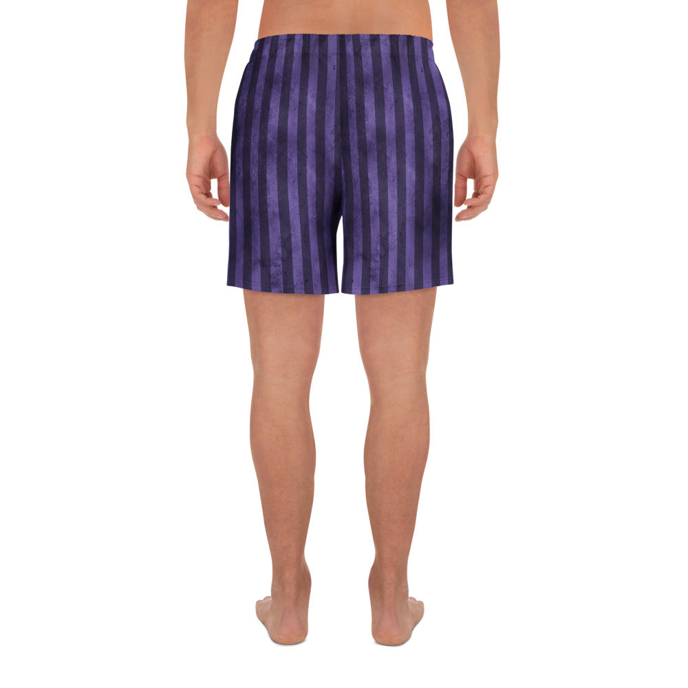 Burtonesque Circus - Purple Joker Stripe - Men's Athletic Long Shorts