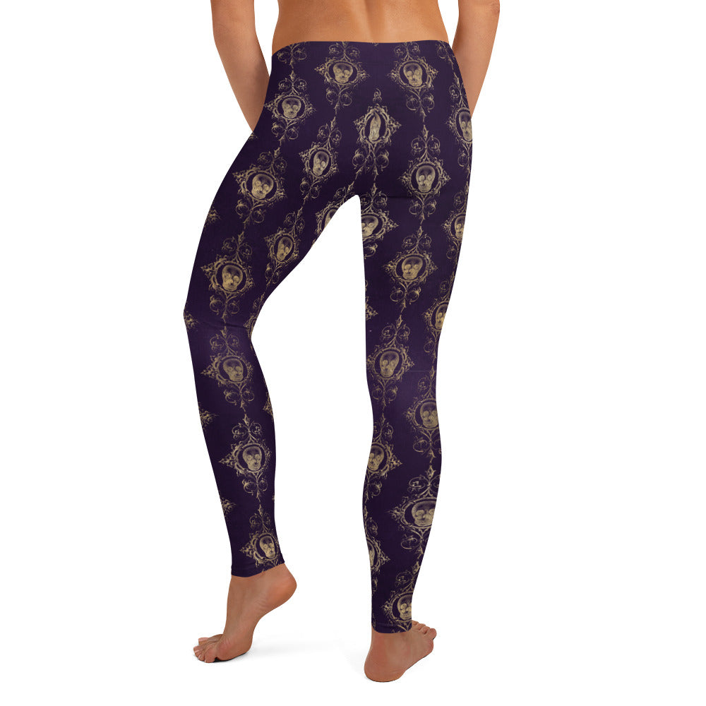 Halloween Costume - Gold skull brocade print on distressed purple - Female Leggings