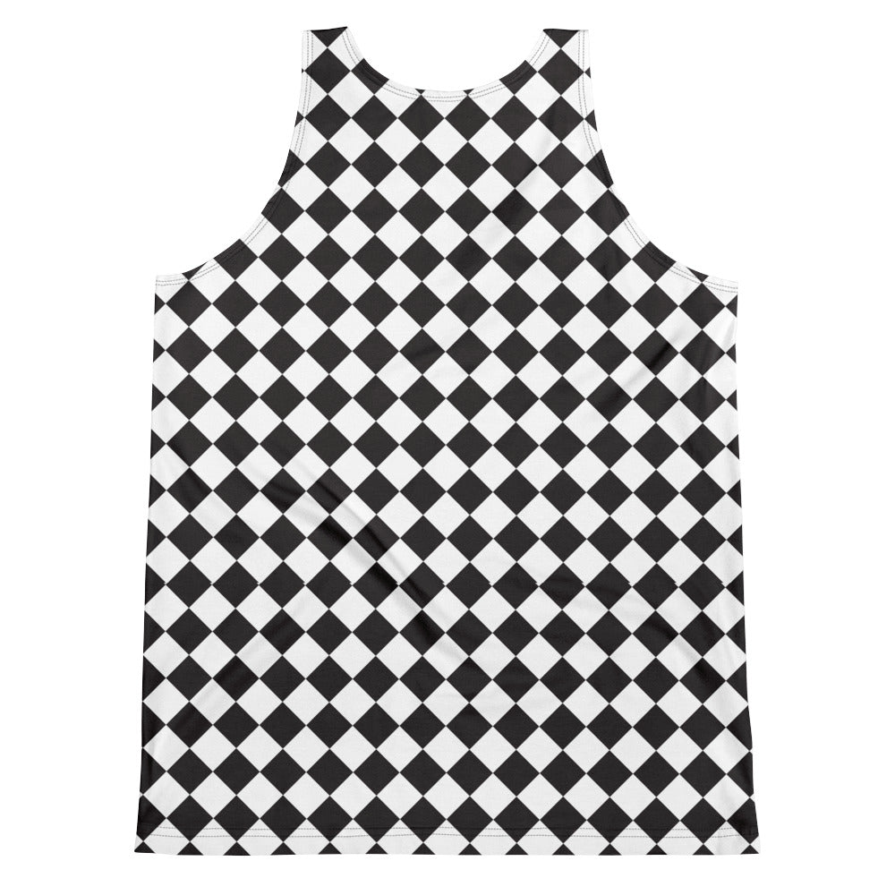 Burtonesque Wonderland - Black and White Harlequin - unisex tank
