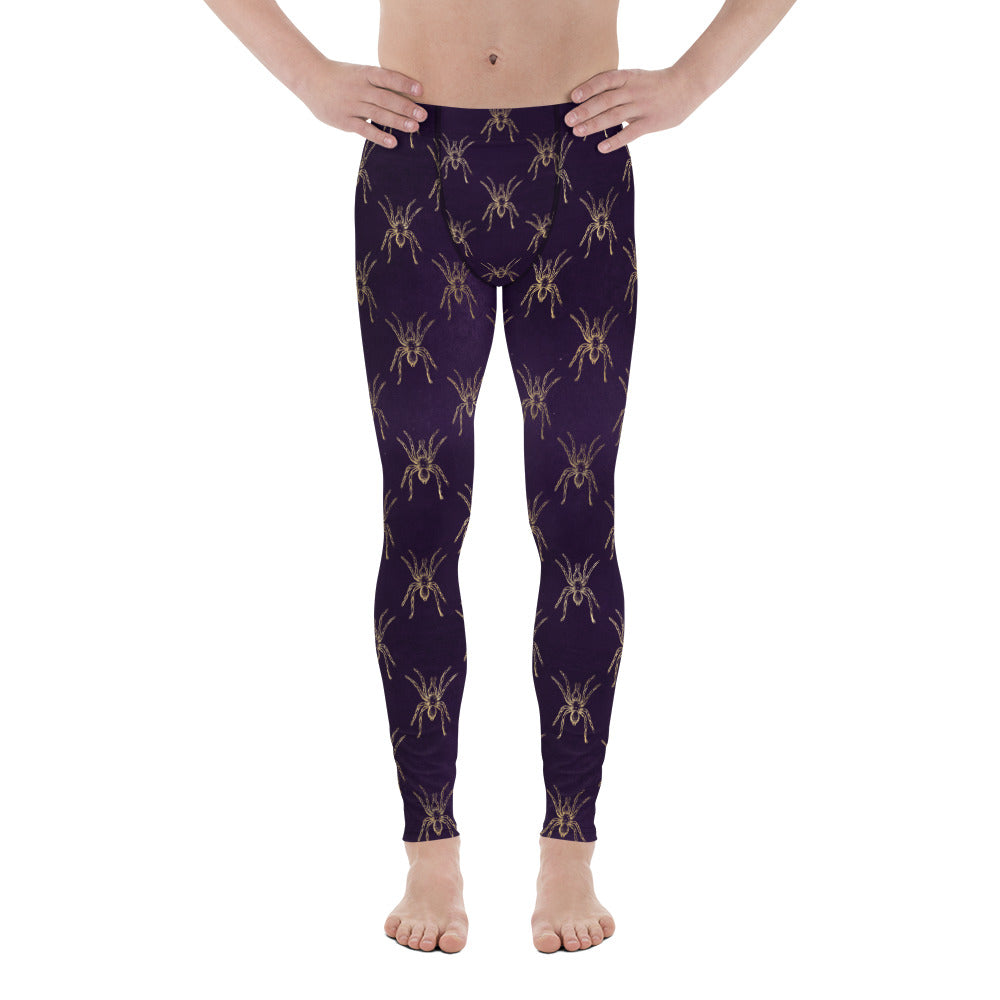 Halloween Costume - Gold Spiders on Purple - Men's Leggings