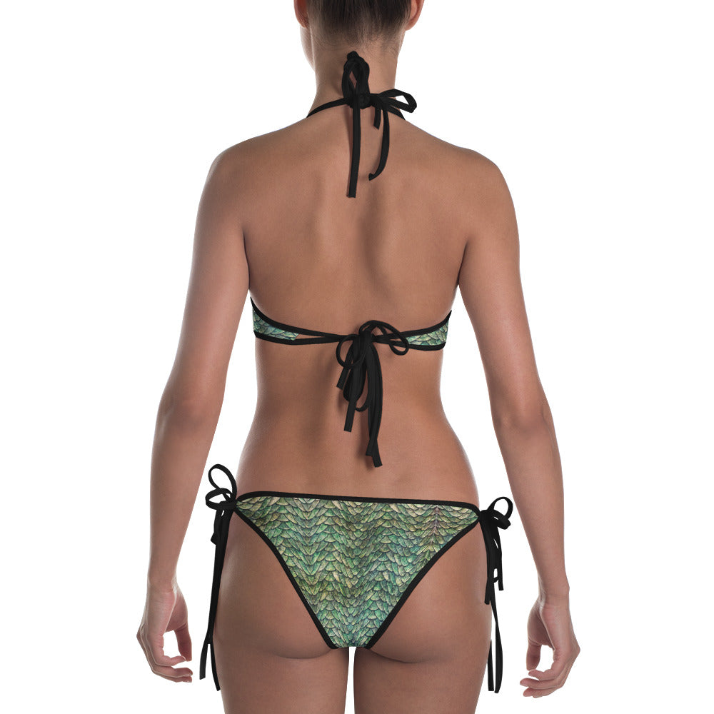 Thrones - 2 in 1 reversible bikini (Green Dragon and Chainmail print)