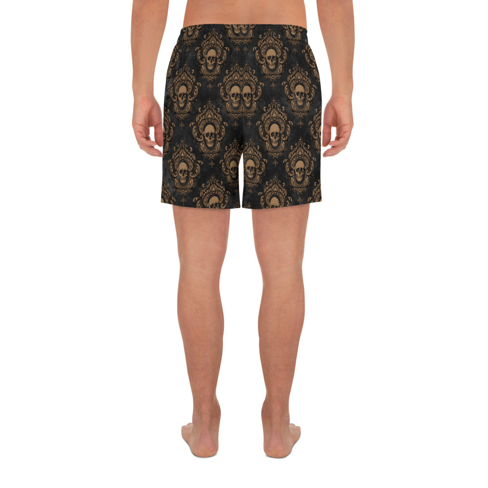 Halloween Costume - Crimson Peak - Skull brocade print - Men's Athletic Long Shorts
