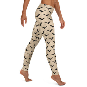 Halloween Costume - Black bats on vintage White - Female Leggings