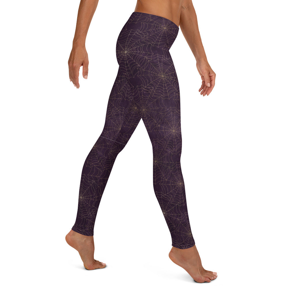 Halloween Costume - Arachnophobia -Gold cobwebs on distressed purple - Female Leggings