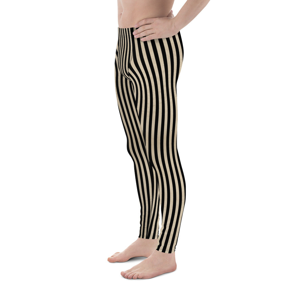 Burtonesque Circus - Black on vintage White stripes - Men's Leggings