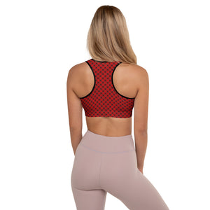 Burtonesque - Wonderland - Red playing card back - Padded Sports Bra