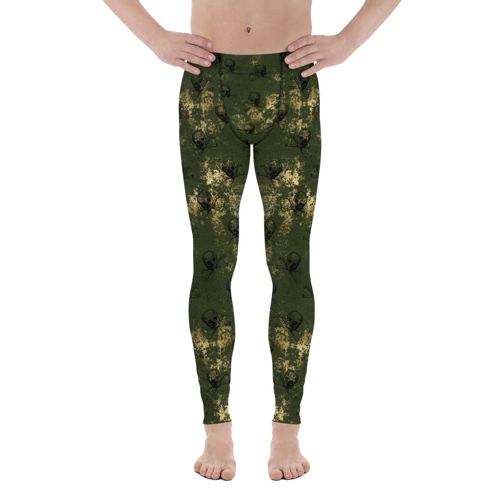 Halloween Costume - Arsenic - skull & crossbones on Green & Gold - Men's Leggings